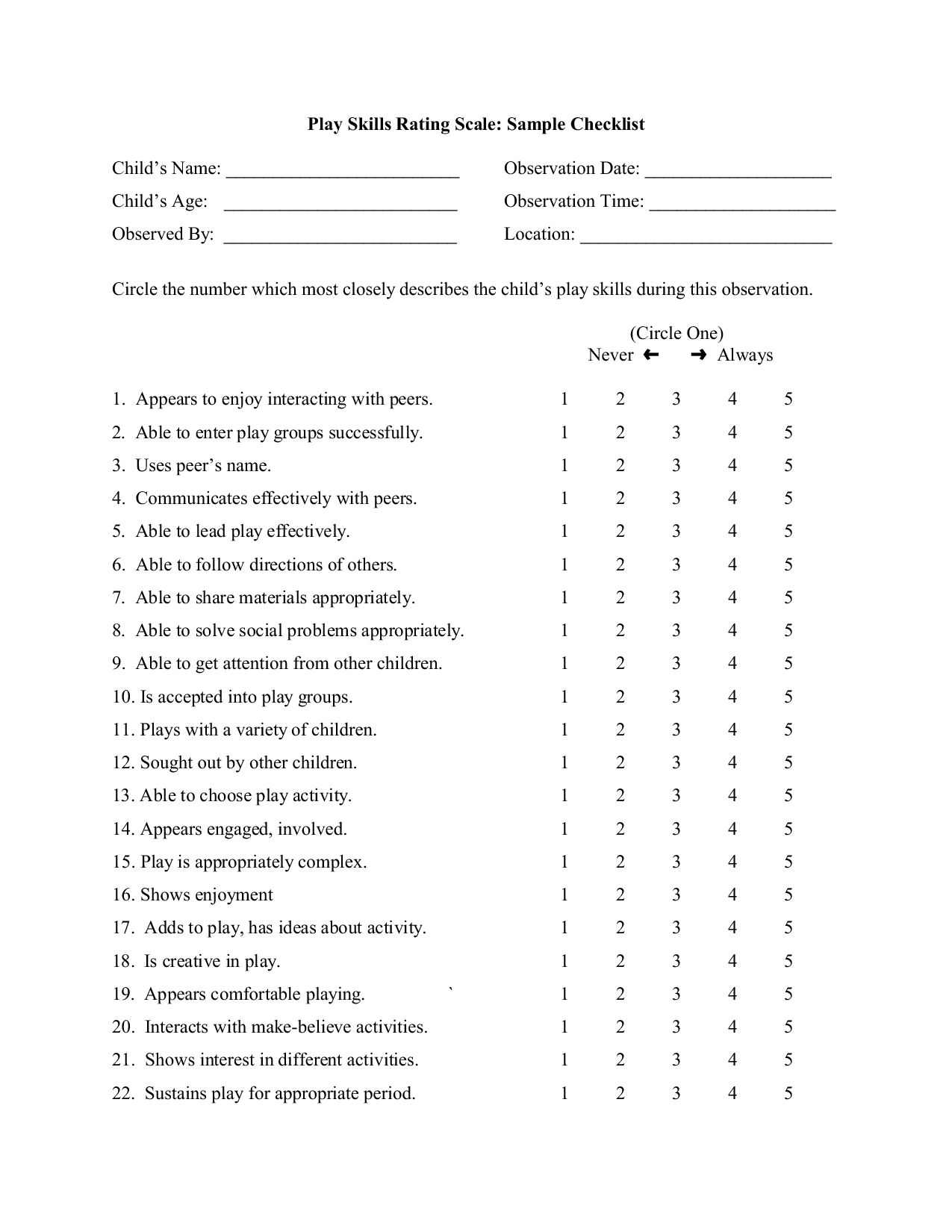 Play Skills Rating Scale
