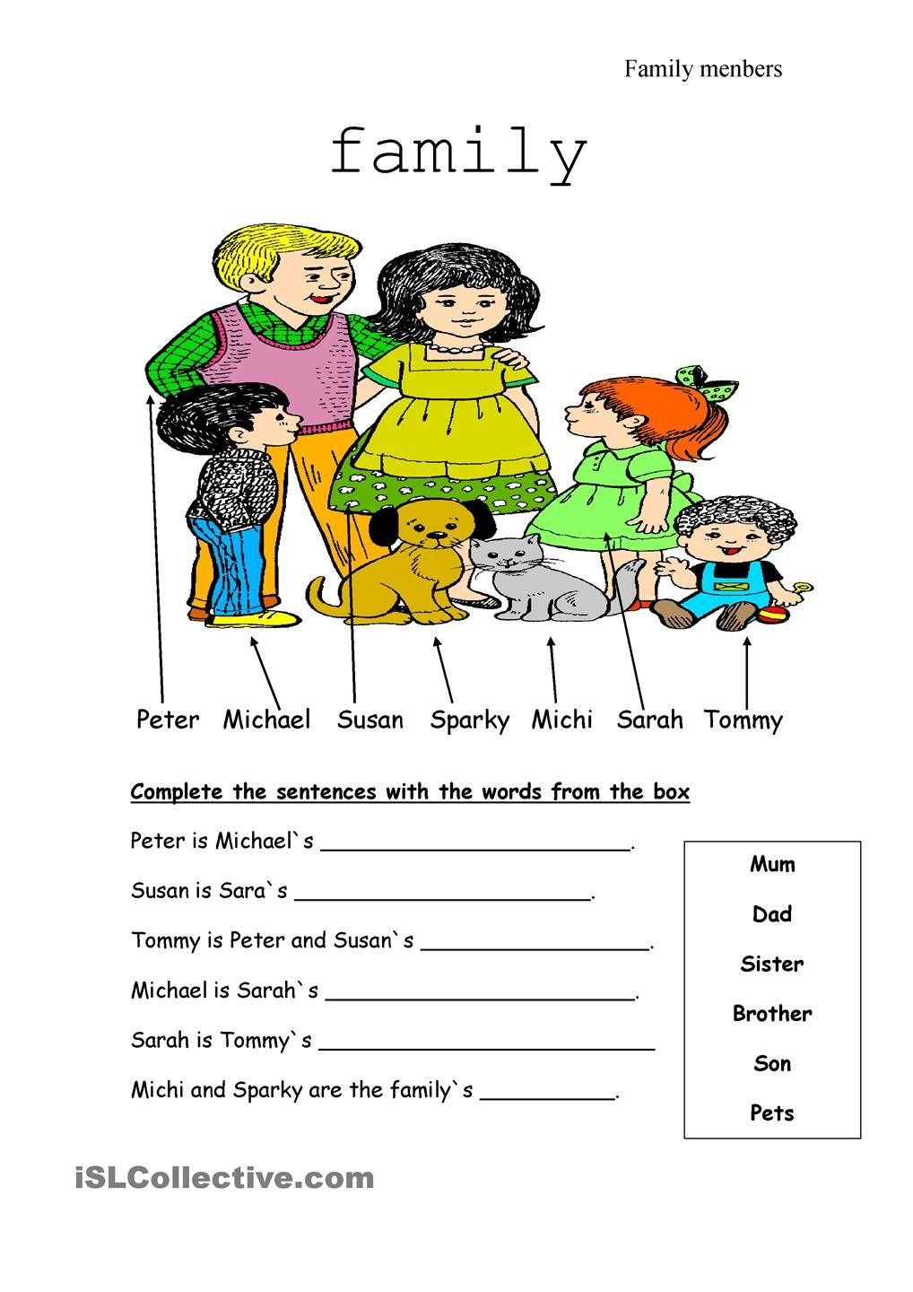 Family members ESL Pinterest Families, Printables