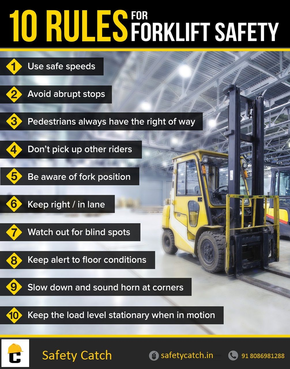 Forklift Safety tips for safety workers. Safety Tips