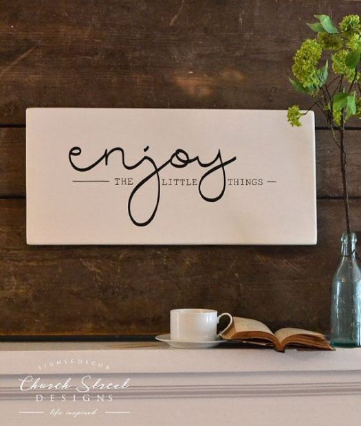Enjoy The Little Things Sign Wooden Kitchen Decor Wall Wedding Gift