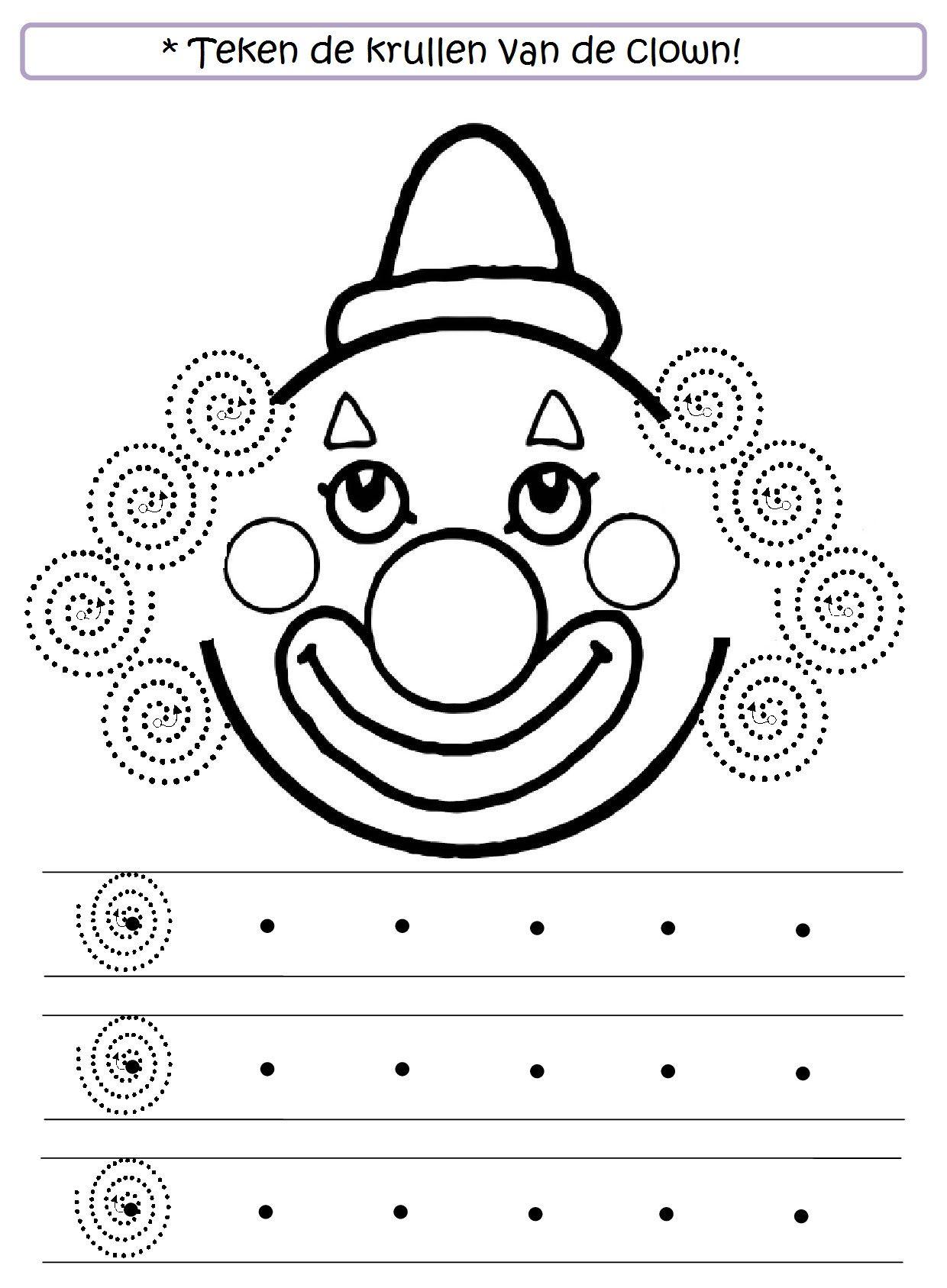 Teken De Krullen Van De Clown