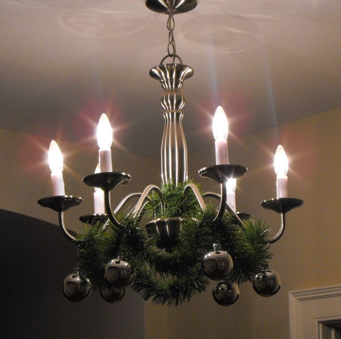 With Green Garland 6 Gold Ball Christmas Ornamental Bronze Metal Hanging Lamp Chandelier Decoration Simple Ideas