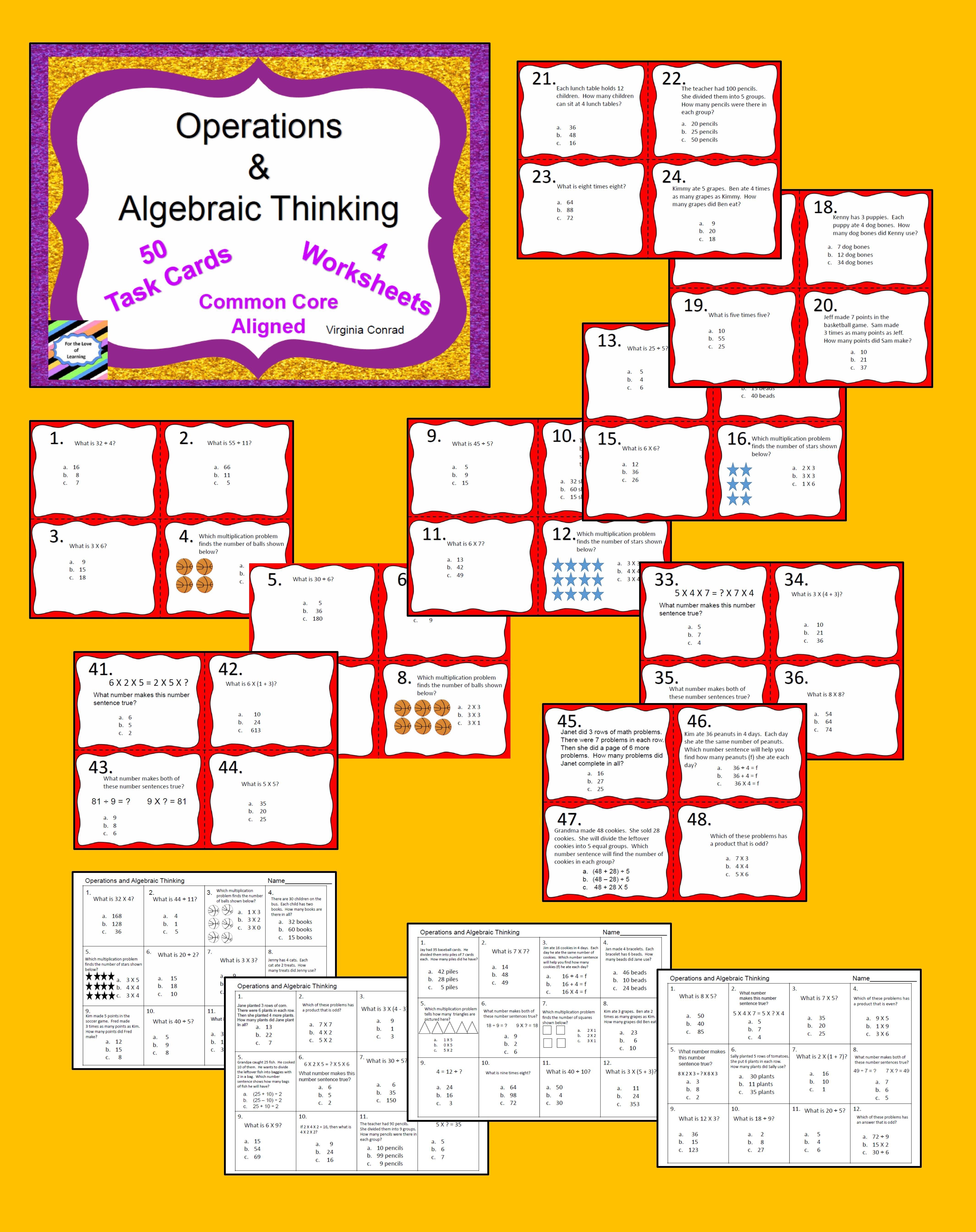 Operations And Algebraic Thinking Common Core Third Grade