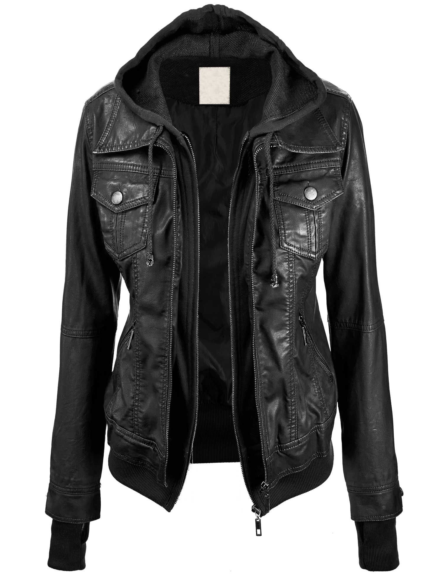 Lock and Love Women's 2ForOne Hooded Faux leather Jacket