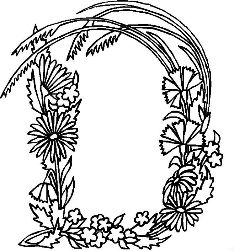 Alphabet Flower D Coloring Pages Free Printable Coloring
