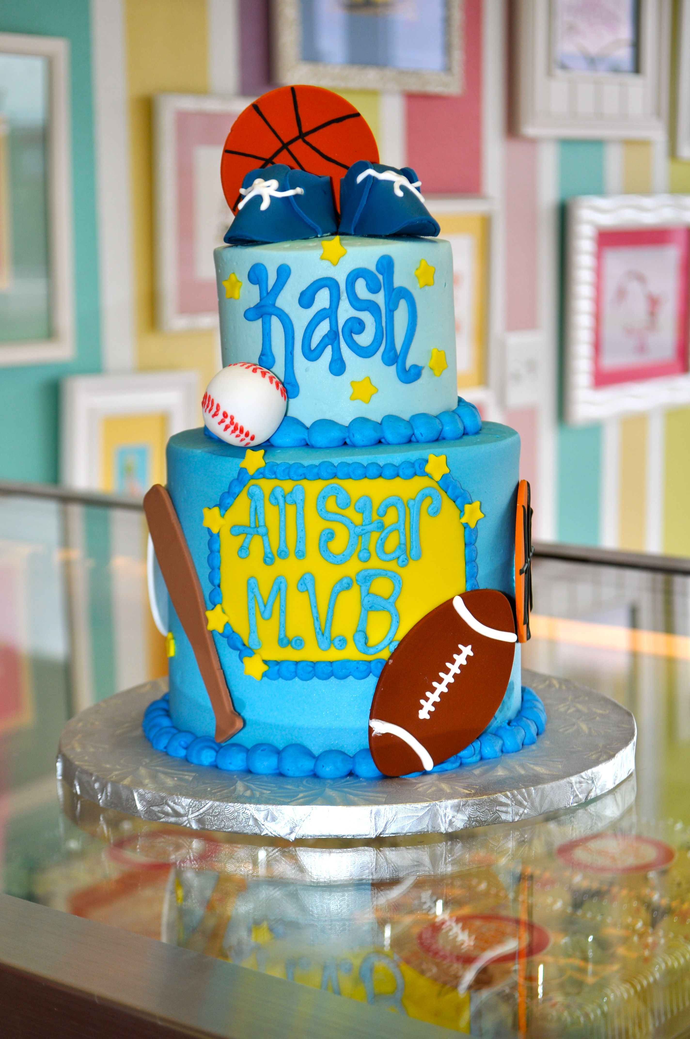Sports Themed All Star Baby Shower Cake