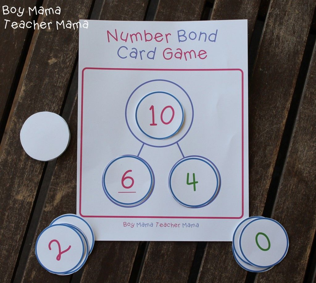Boy Mama Teacher Mama Number Bond Card Game 8