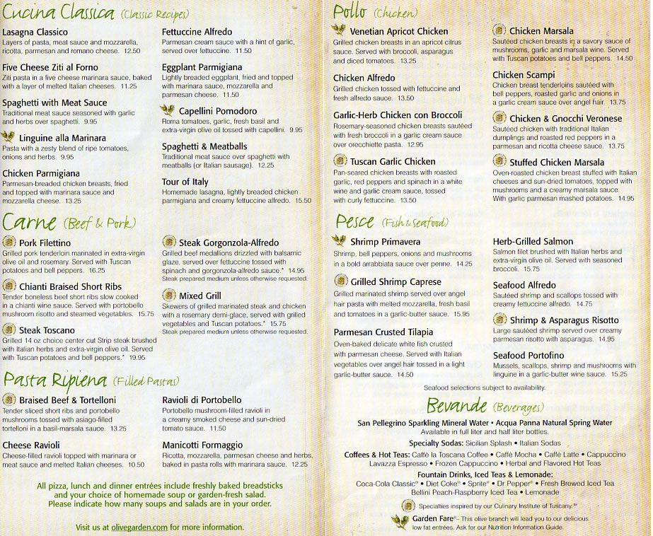 Olive Garden becausei'mhungry GTCC MENU DESIGN