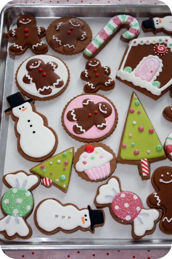 decorated Christmas cookies...love the shimmery wrapped