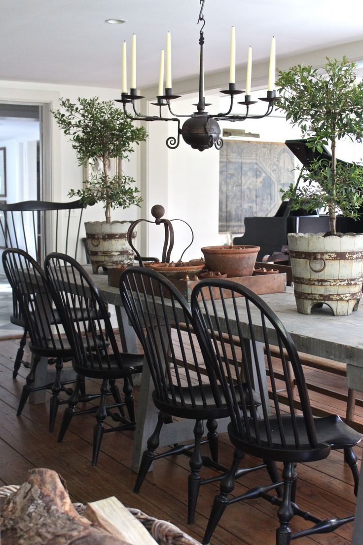 Rustic French table with American windsors painted black