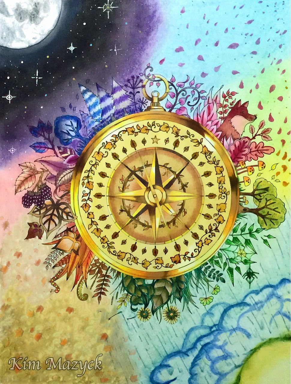 Coloring Book Enchanted Forest Compass Colored With