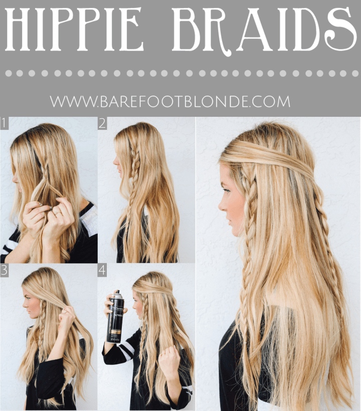 Easy Hippie Braids Hairstyle for School