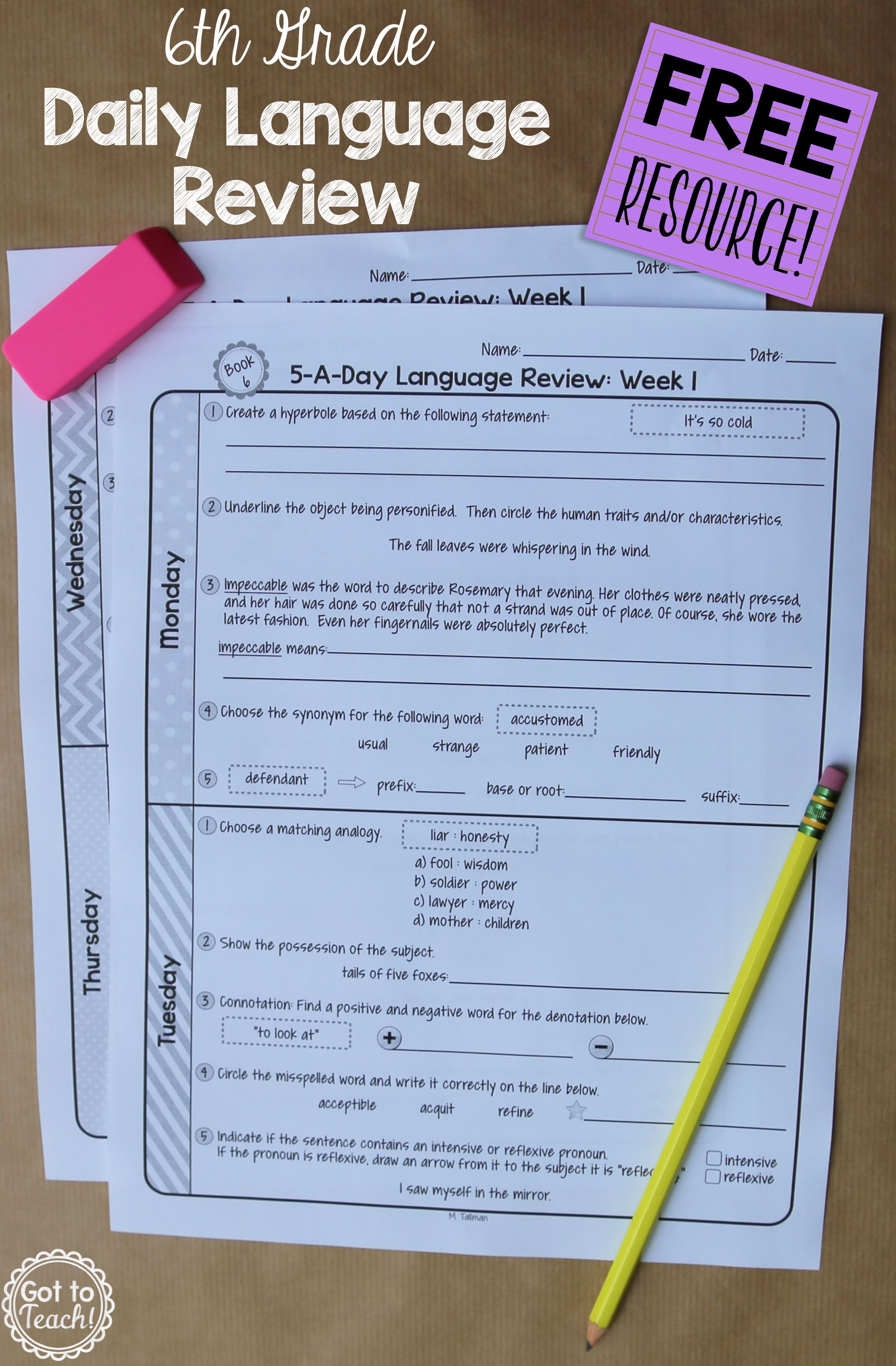 A Free Daily Language Review For 6th Grade Review