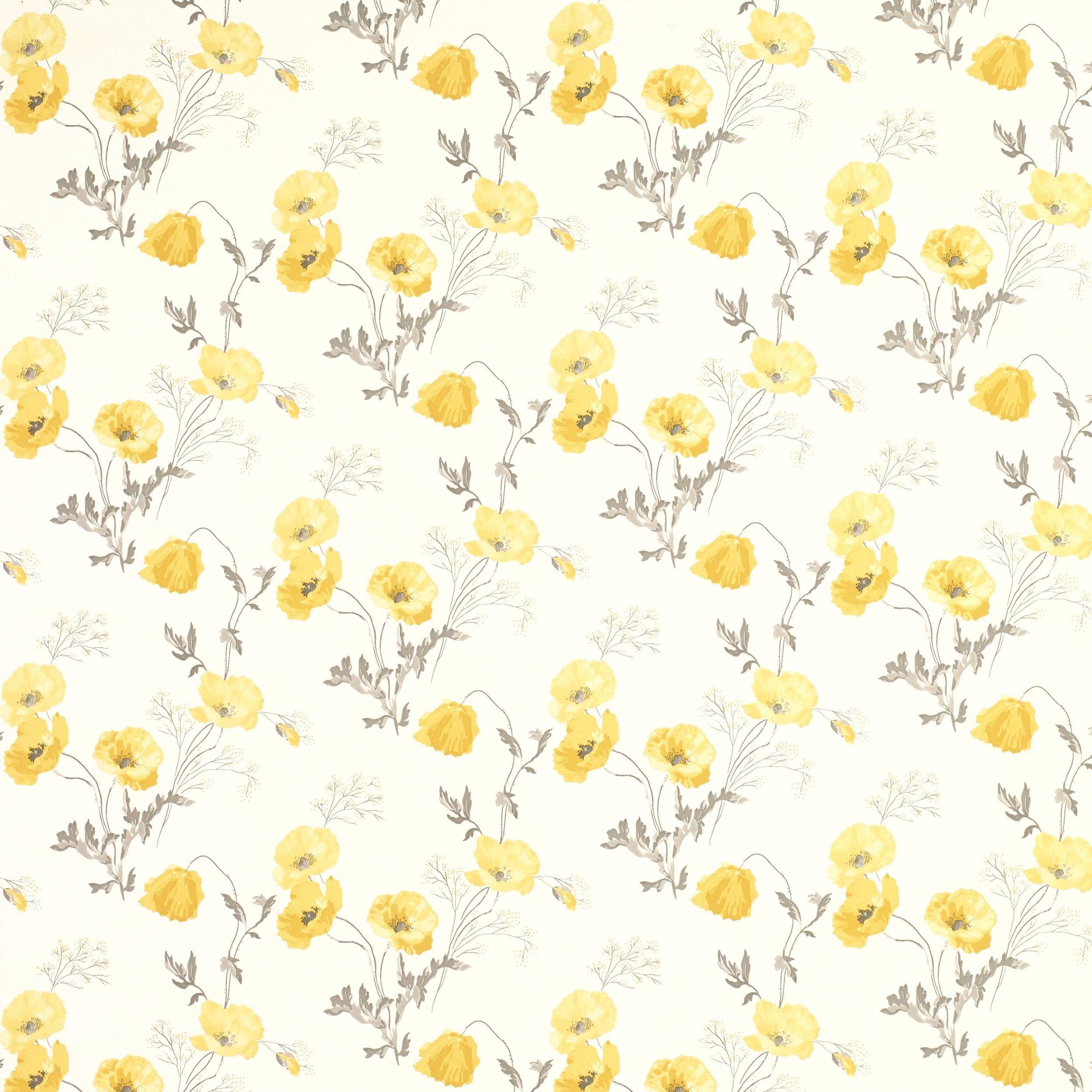 Poppy Meadow Primrose Yellow Floral Wallpaper Wallpaper