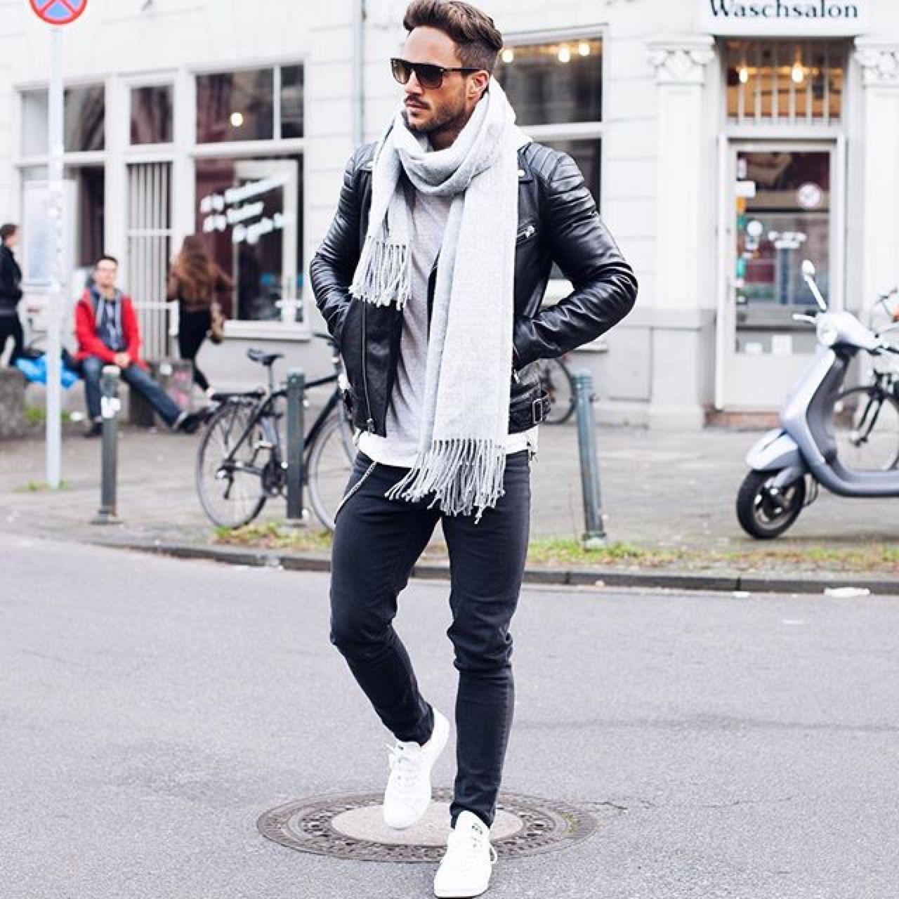 Mens street style. White scarf. Black leather jacket