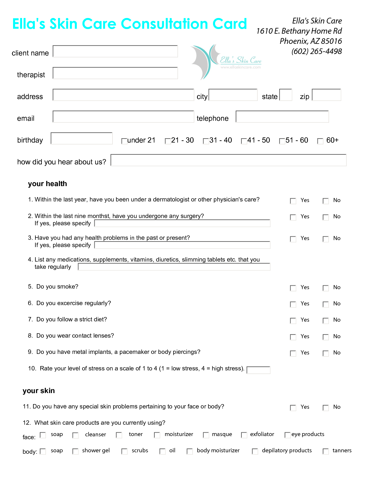 Skin Care Client Consultation Form Success