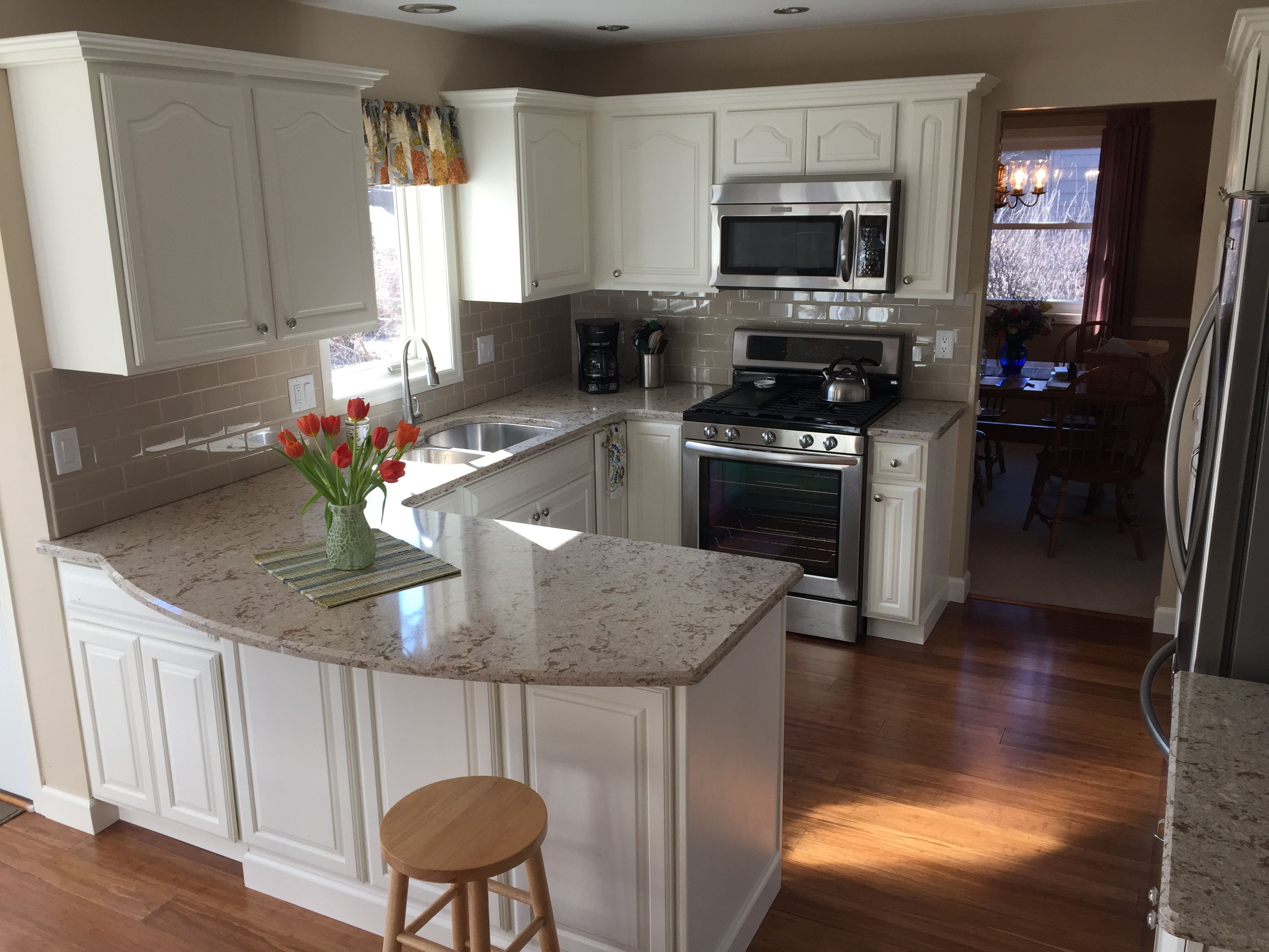 Our kitchen remodel Oak painted white. We used