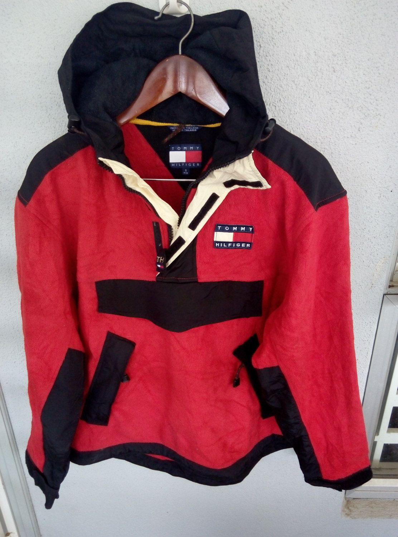 Rare Vintage Tommy Hilfiger Hoodie Fleece Jacket pit 24.5