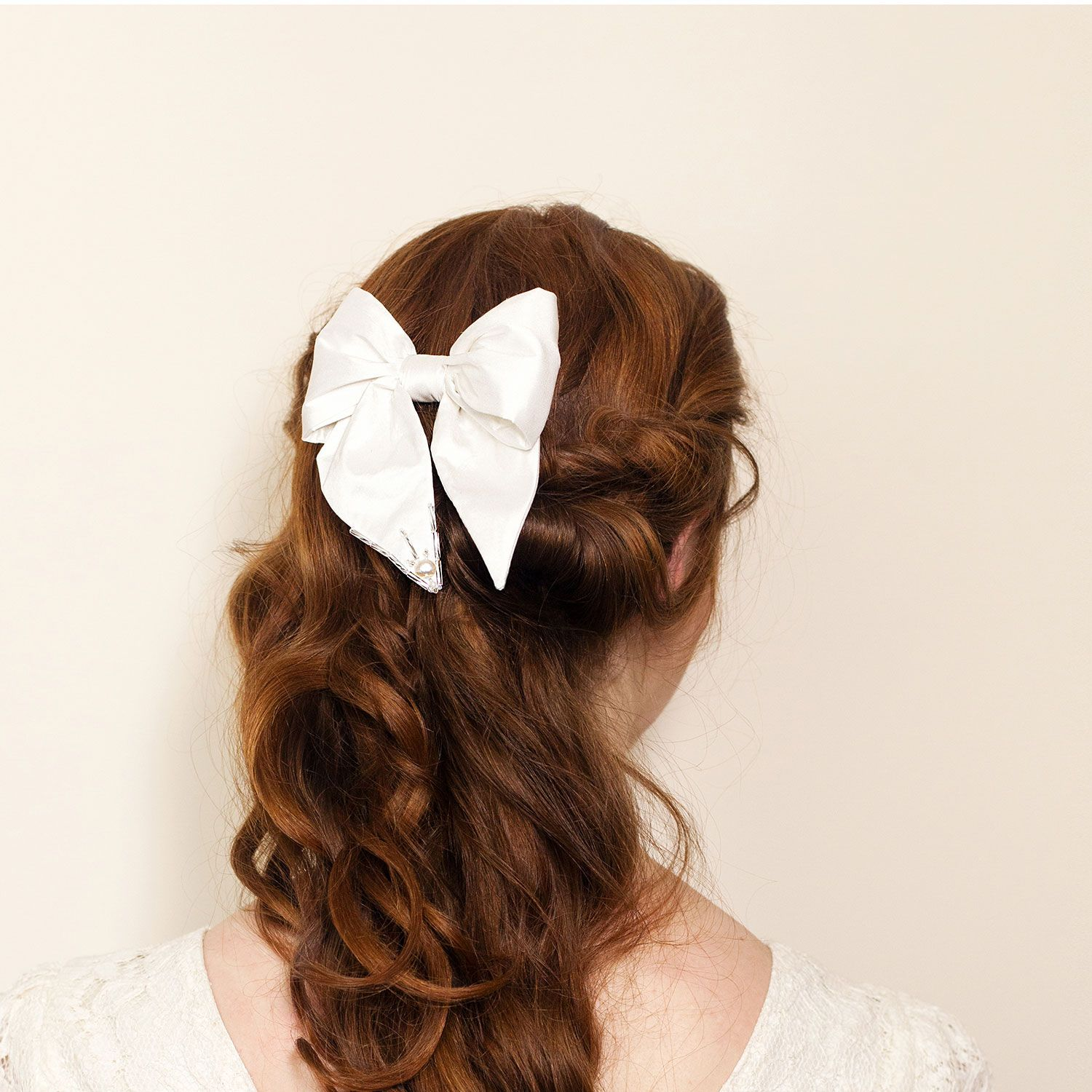 Simple cute bridal hair bow clip with sparkle detail by