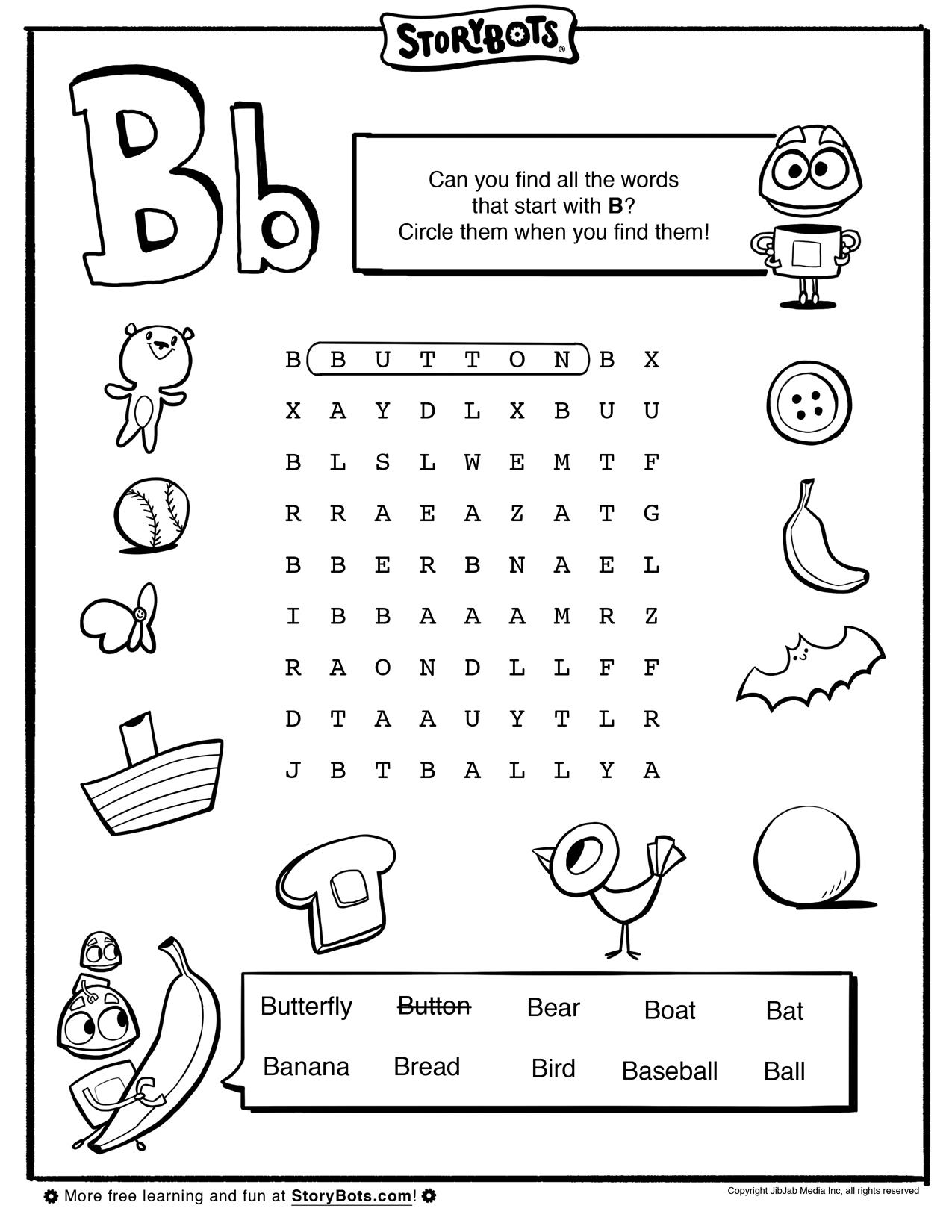 Letter B Word Find
