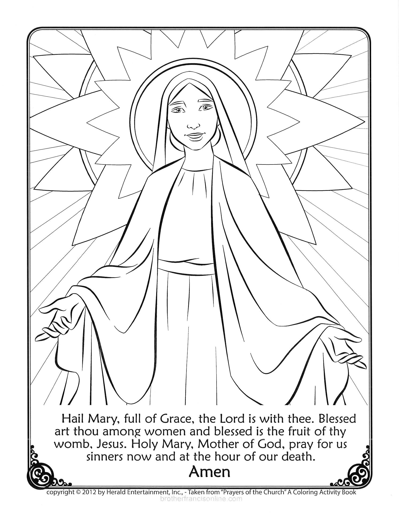 Mary Coloring Page With The Hail Mary Prayer Printed Below Color And Pray