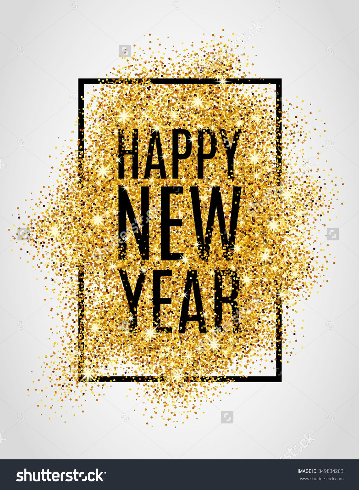 Happy New Year. Gold Glitter New Year. Gold Background For