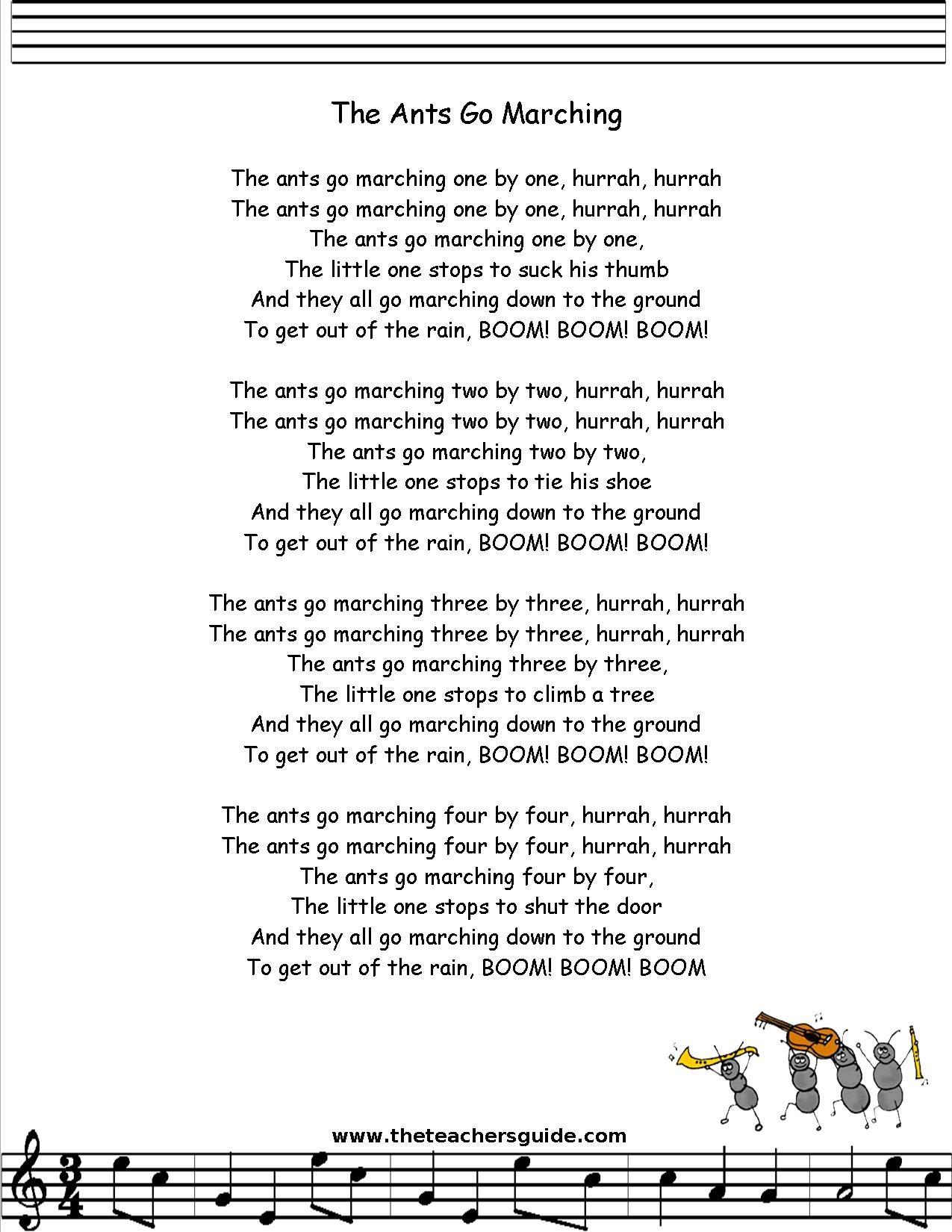Ants Go Marching Lyrics Printout