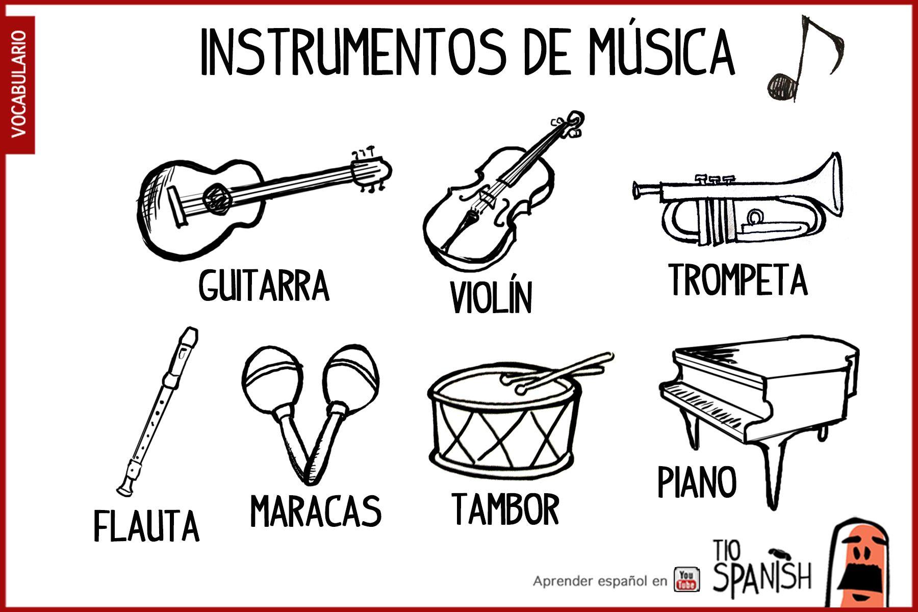 Los Instrumentos De Musica En Espanol Guitarra Violin