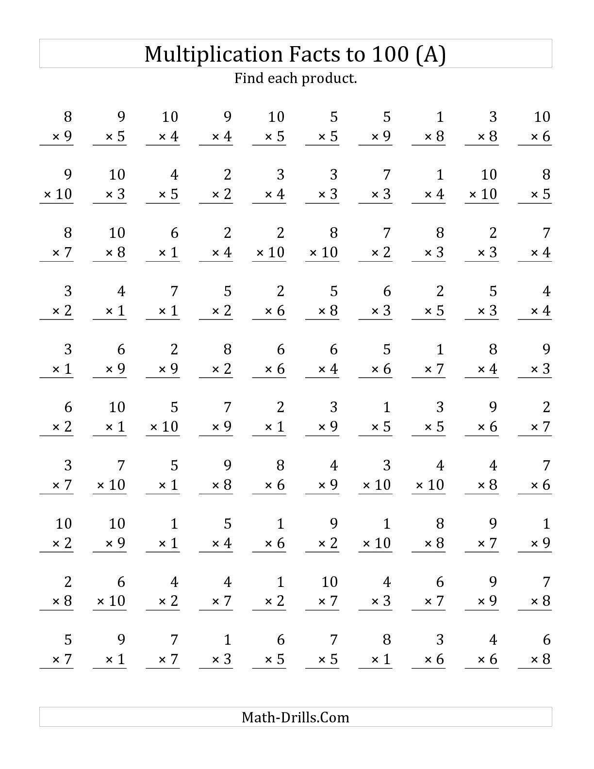 The Multiplication Facts To 100 No Zeros A Math Worksheet From The Multiplication Facts