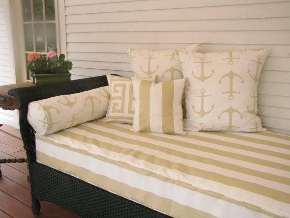 Twin Size Outdoor Mattress Cover For Your Porch Swing Or Daybed This Fabric Is Vertical