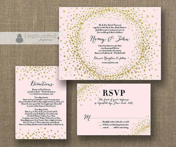 blush pink gold glitter wedding invitation 3 piece suite - Gold Glitter Wedding Invitations