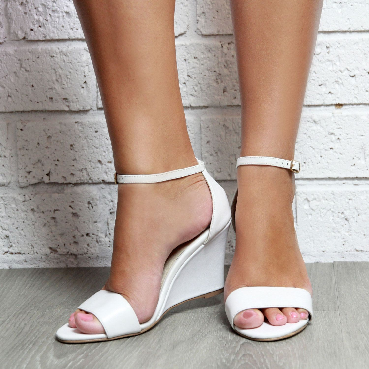 Ladies White Leather Wedge shoes. White Wedding Shoes