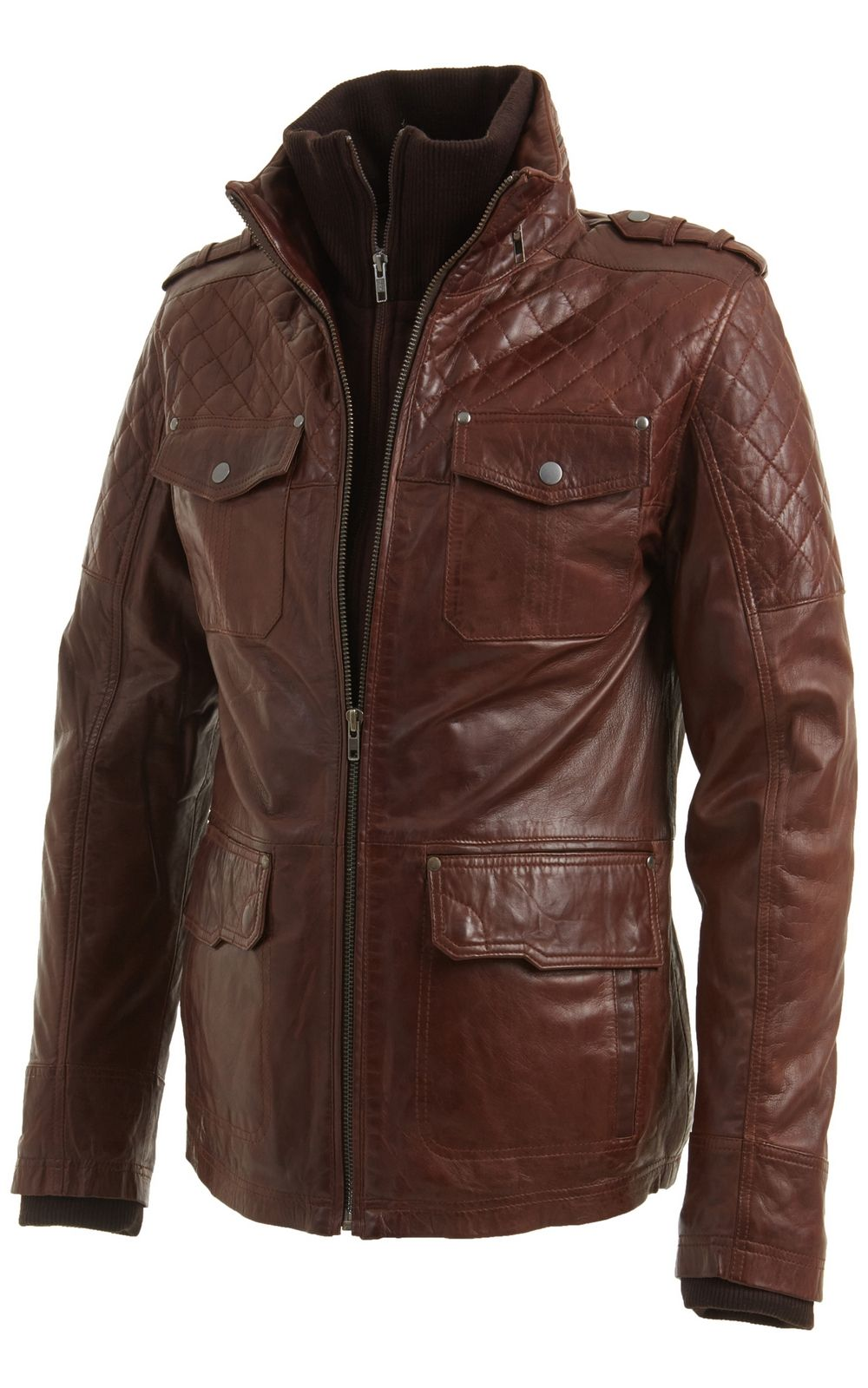 Mens Vintage Brown Leather Biker Jacket in sizes S to 5XL