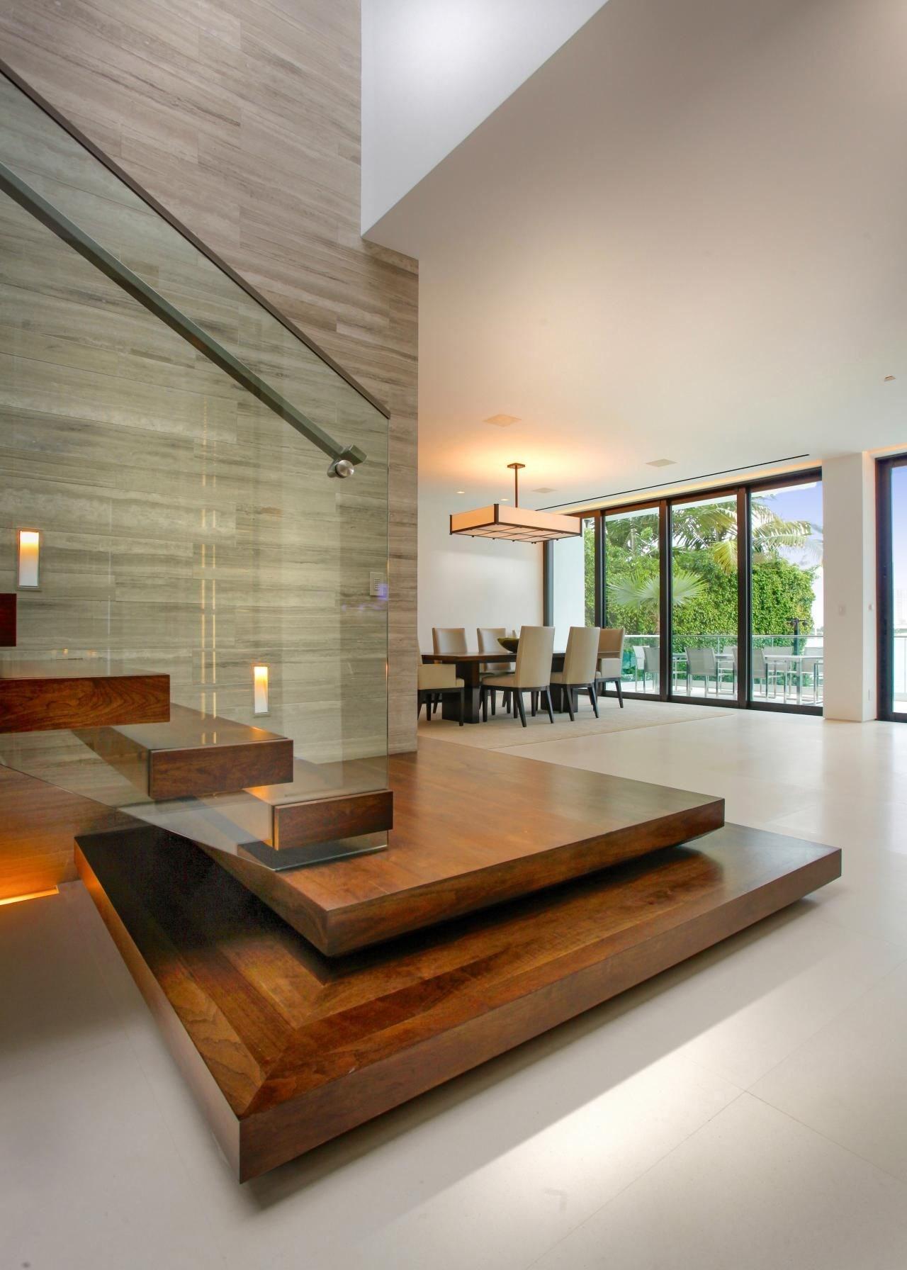ღღ Modern Staircase With Floating Wood Steps Glass | Wooden Stairs Railing Design With Glass