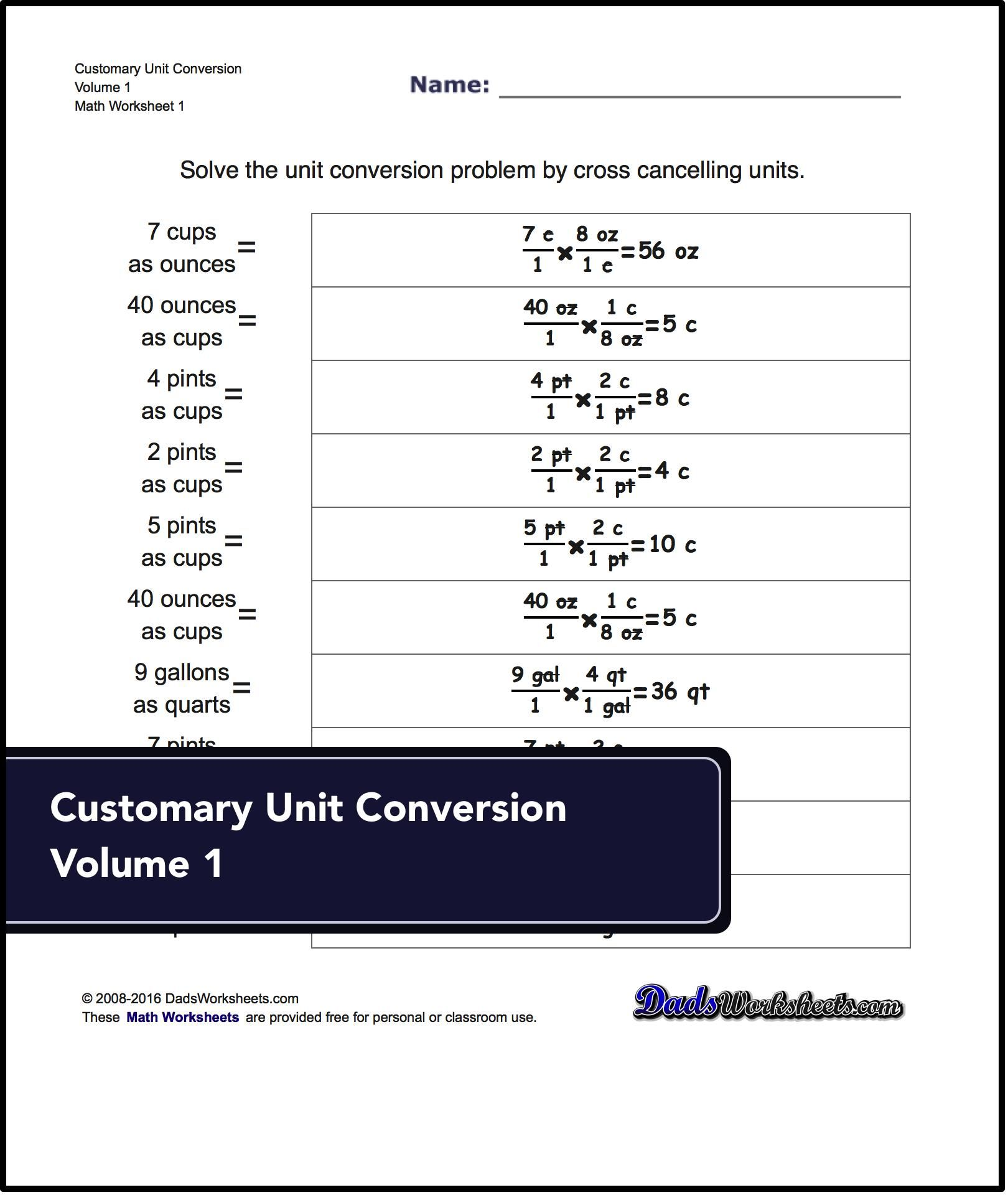 Unit Conversion Worksheets For Converting Customary Volume Units Including Ounces Pints