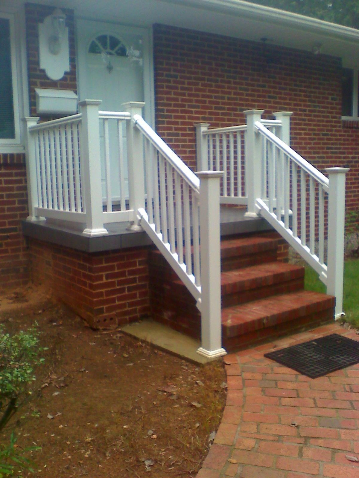 White Railing On A Concrete Porch Boling Front Porch | Vinyl Handrails For Concrete Steps