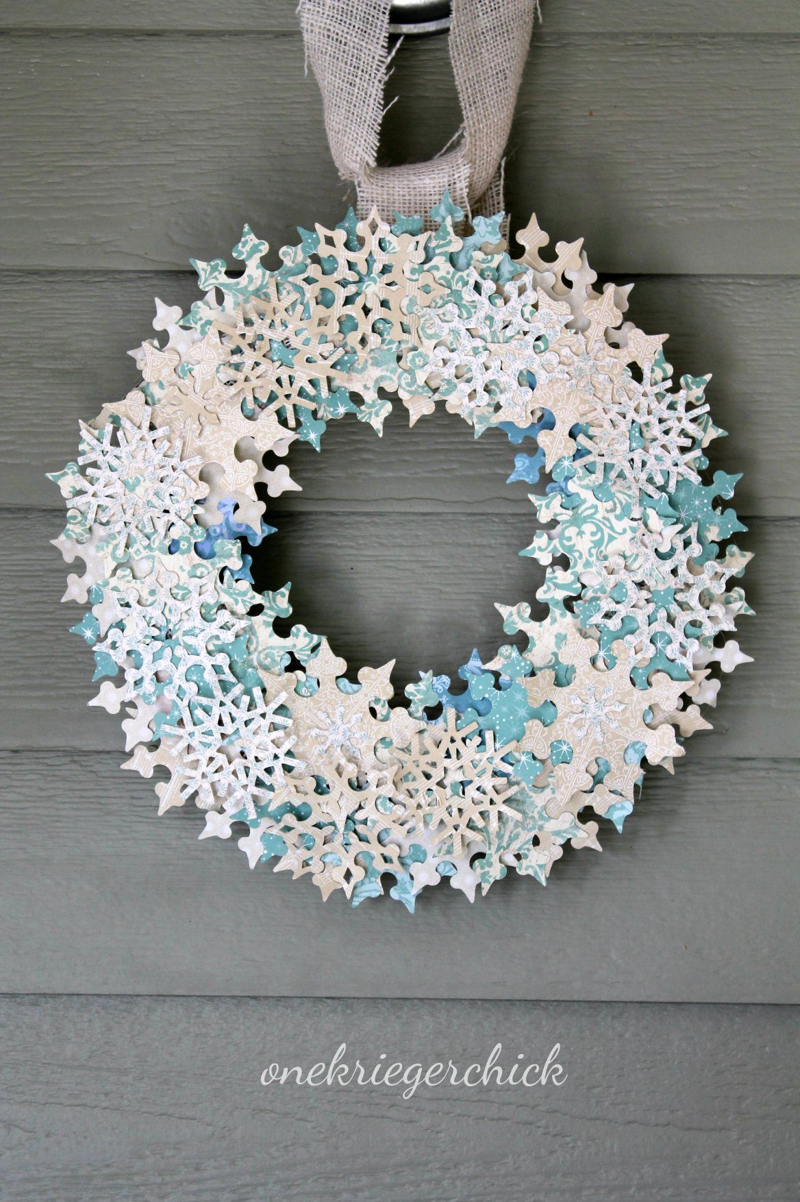 DIY Snowflake Wreath Snowflake wreath, Paper snowflakes