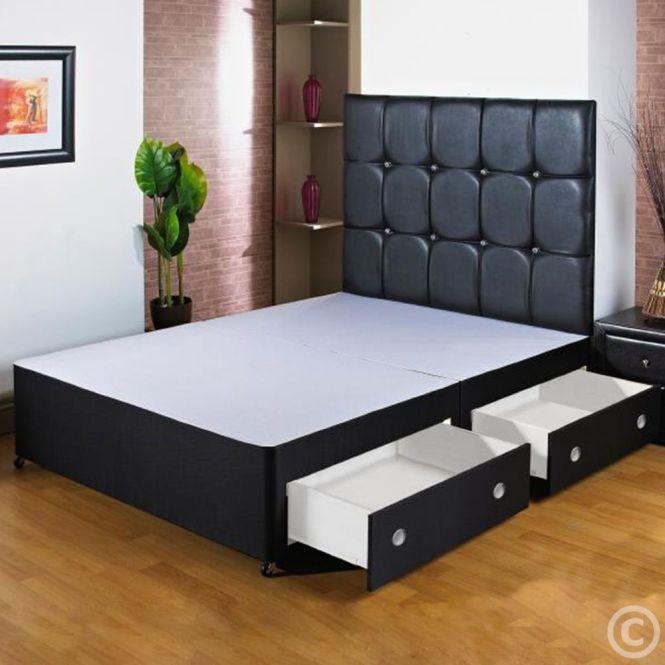 New 5ft Kingsize Black Divan Bed Base Storage Drawers Free Nextday Delivery