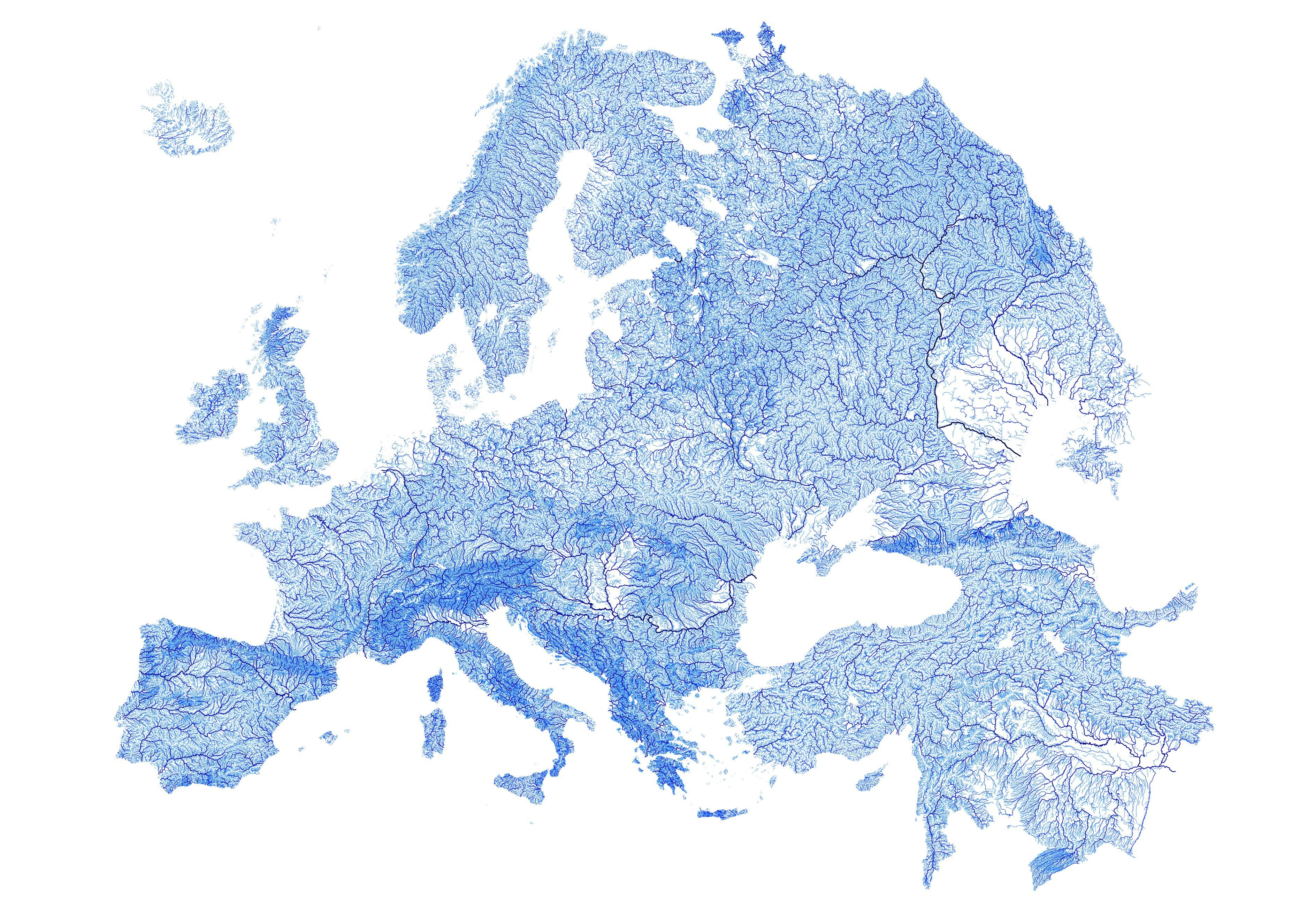 Europe Plotted By Every Mapped Stream And River All 1