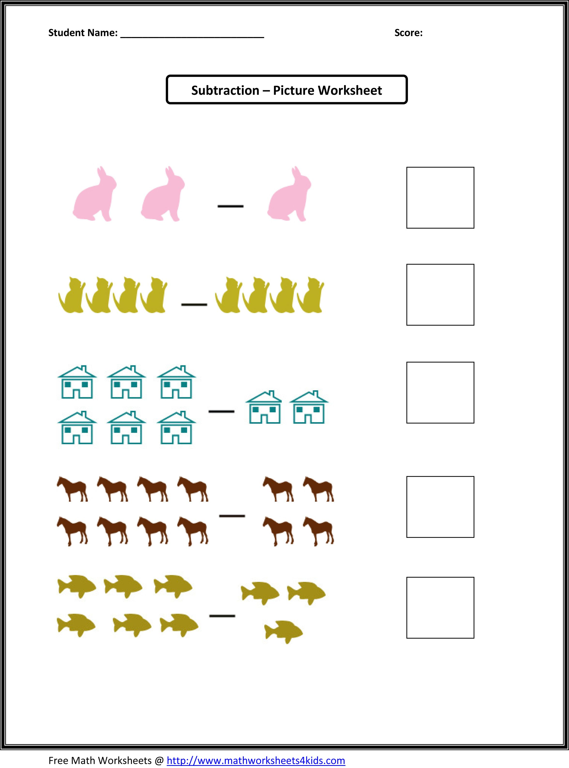 Simple Subtraction Worksheets For Kindergarten With