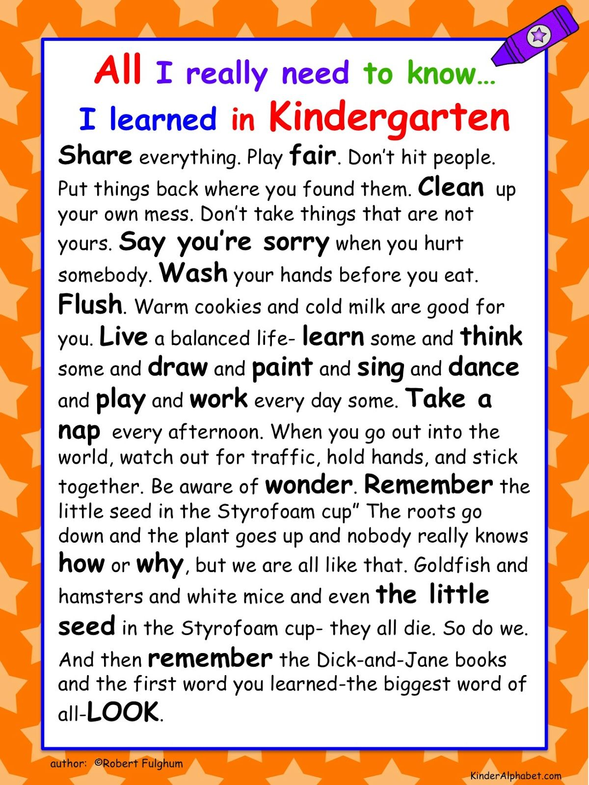 End Of The Year Activities Free All I Really Need To Know I Learned In Kindergarten Poster