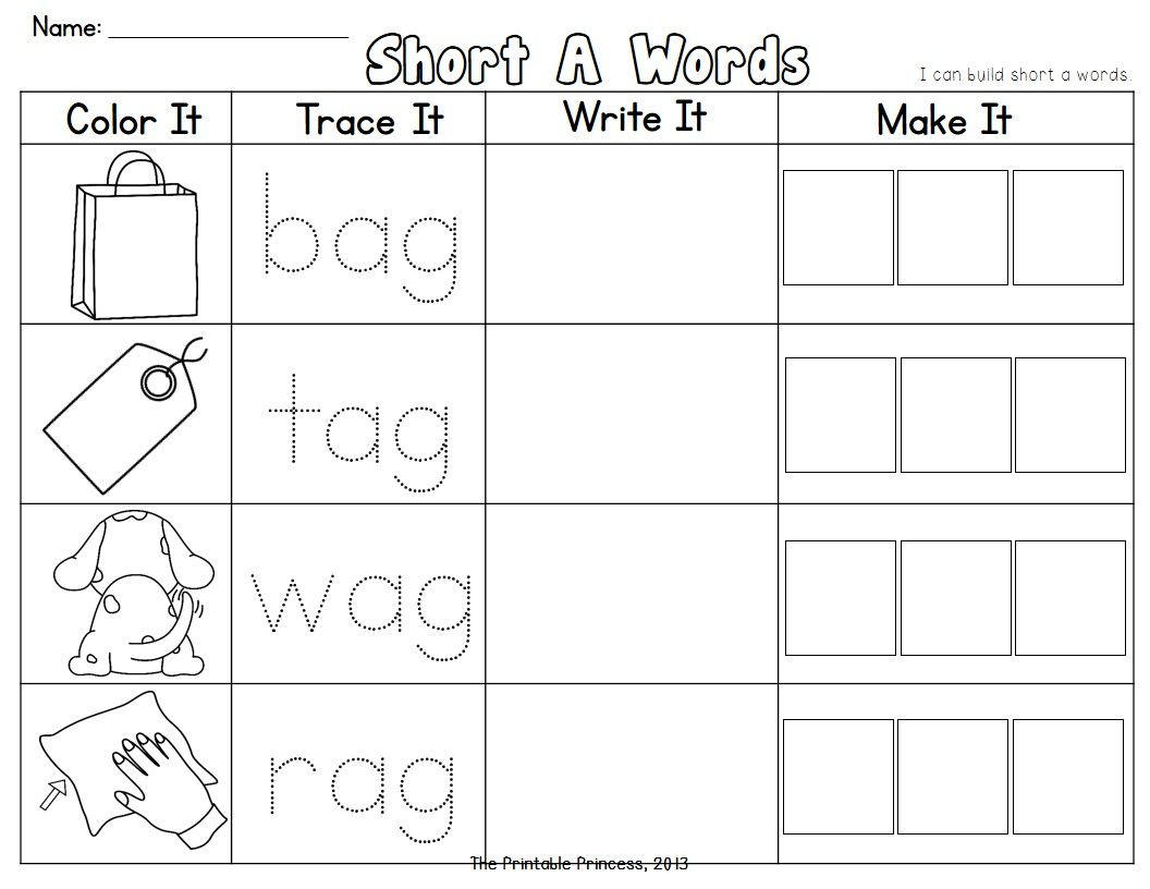 Cvc Words Short Vowel Word Families Read It Trace It