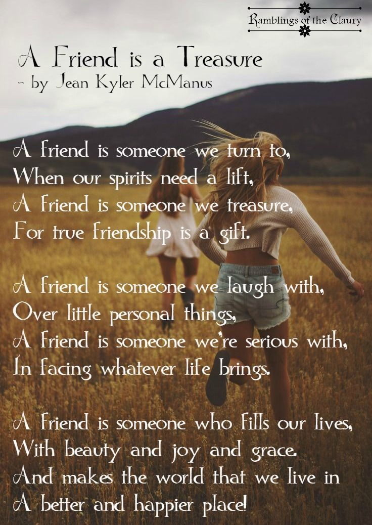 A Friend Is A Treasure Friendship, Laughter and Poem