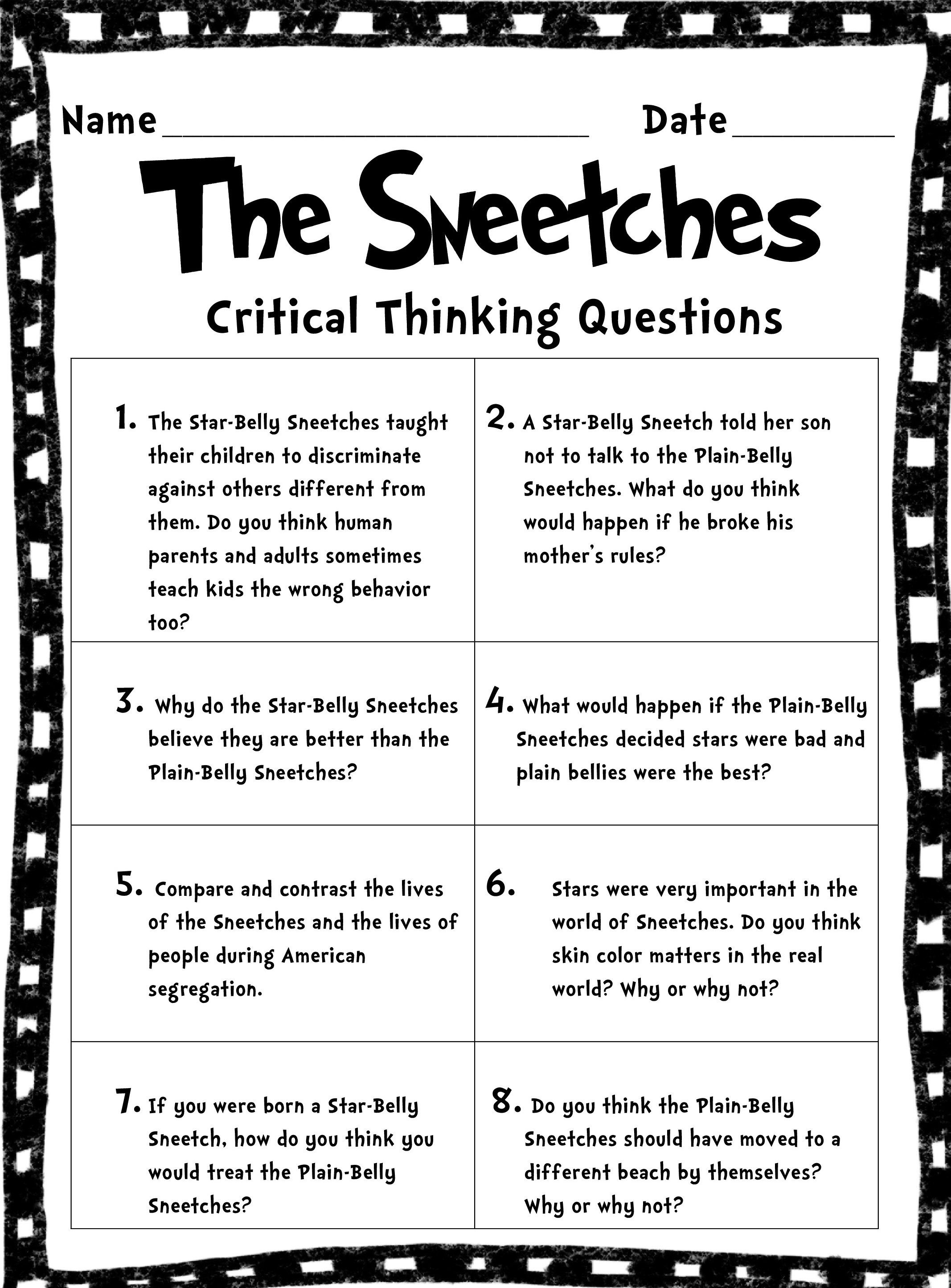 Critical Thinking Worksheet Printable