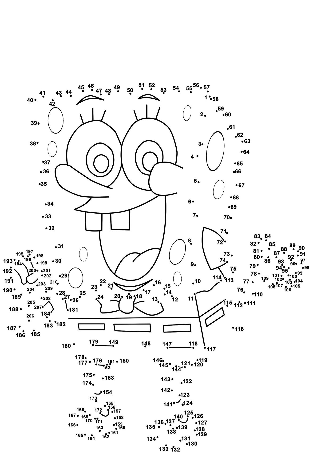 Dot To Dot Printables Spongebob Medium Level