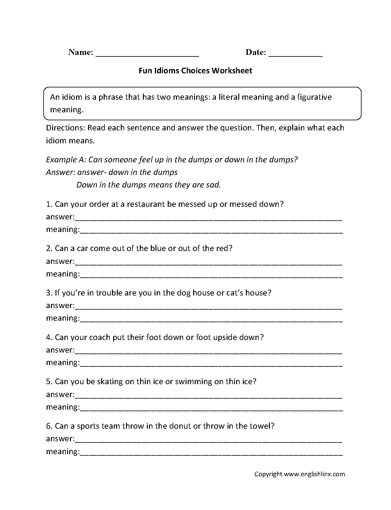 Facebook Worksheet Fun