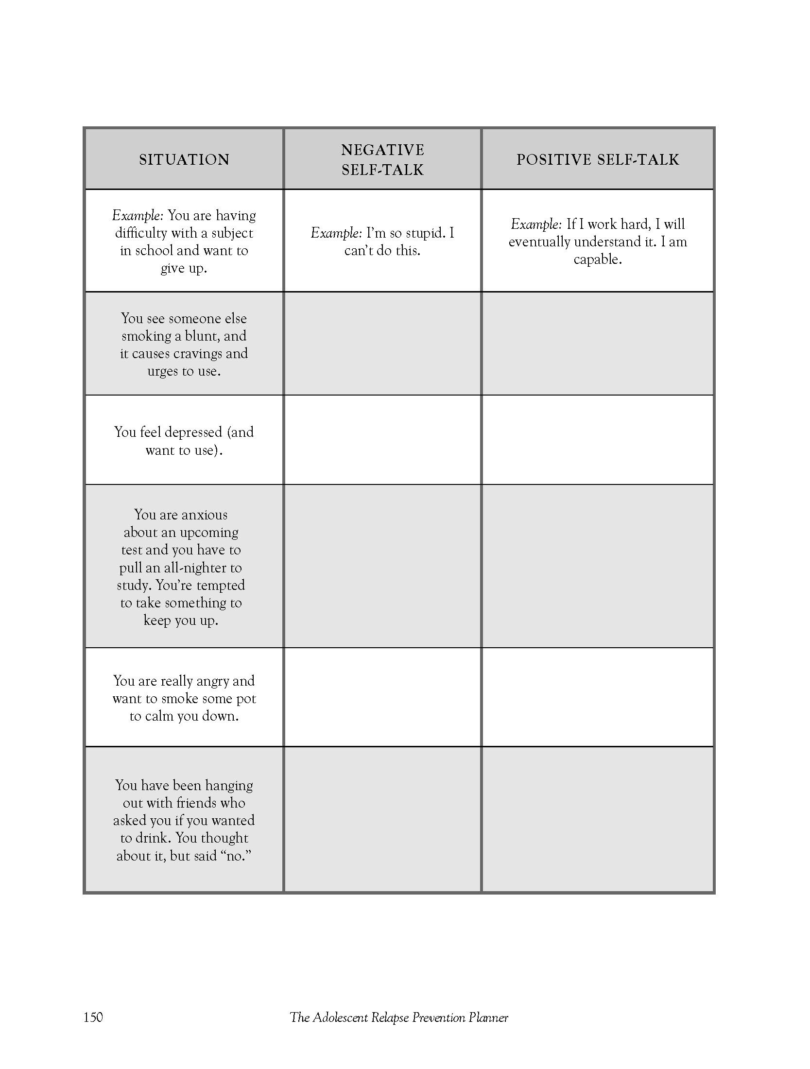 Teen Negative Attitude Change Worksheet