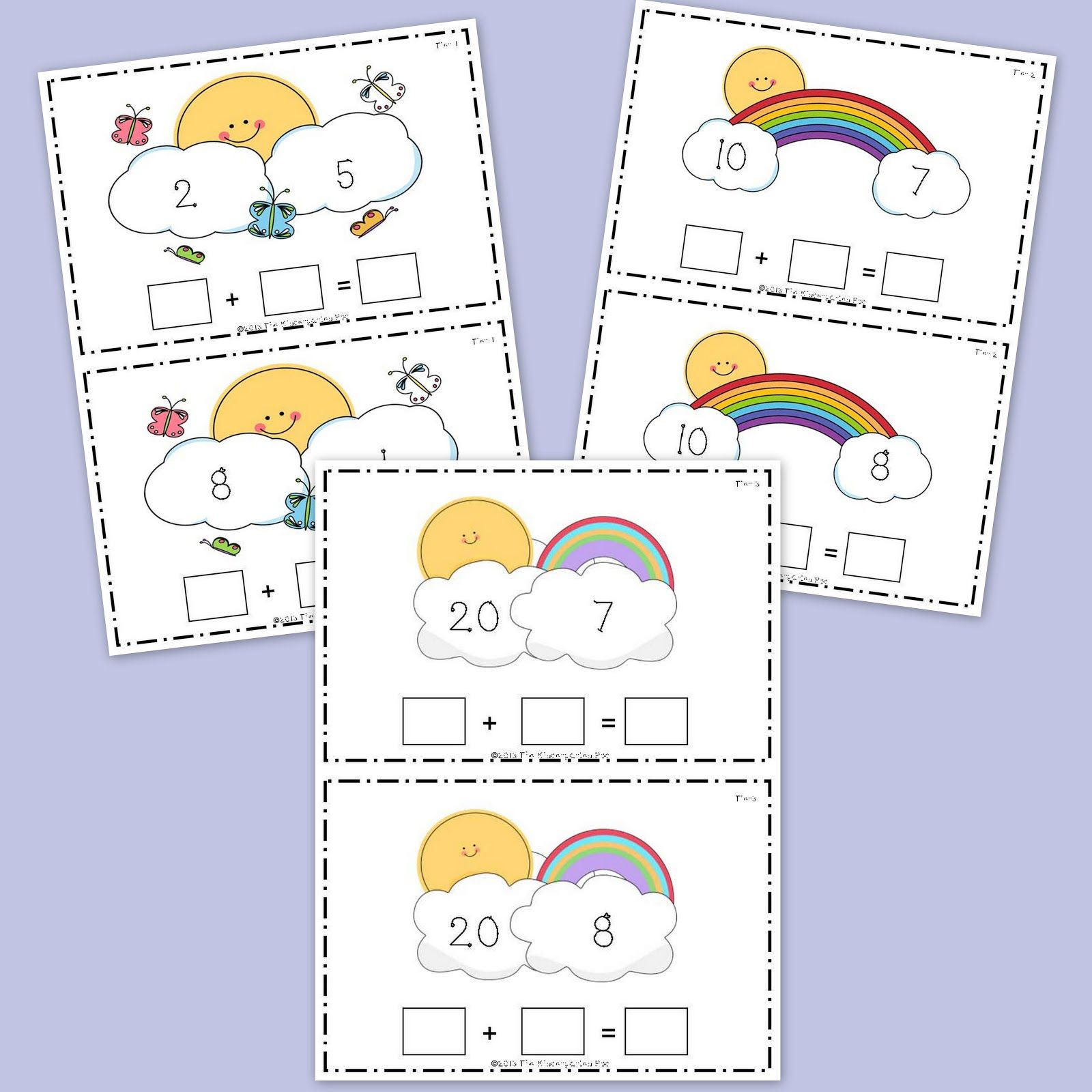 The Kindergarten Pod Cute Spring Themed Activity To Practice Addition 3 Tiers For