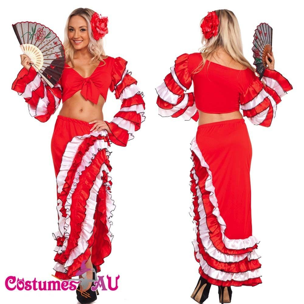 Spanish Mexican Flamenco Latin Dancer Costume Can Can