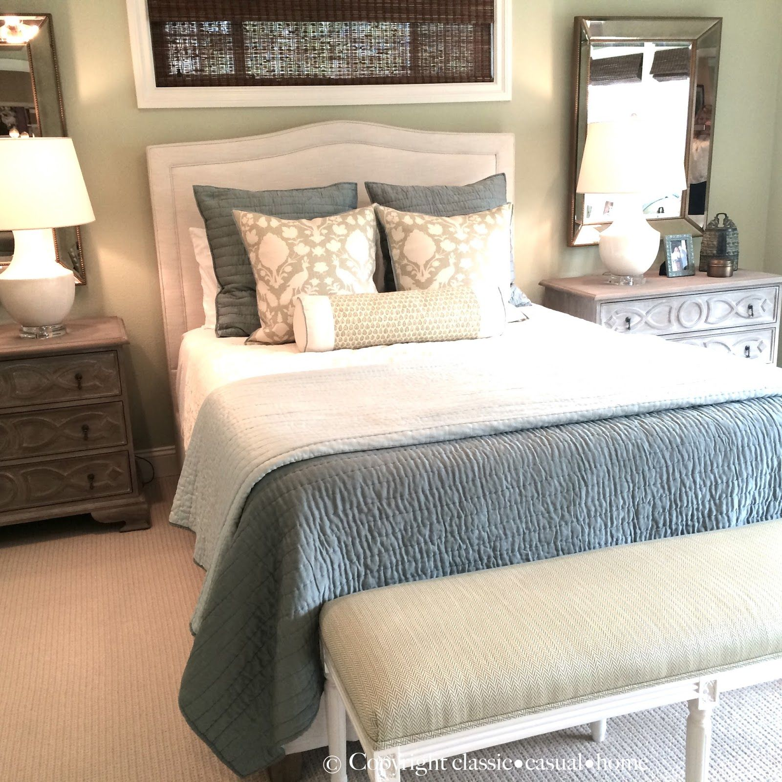 soft green and aqua blue master bedroom before and after | blue